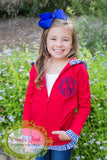 Girls Red and Navy Ruffle Jacket