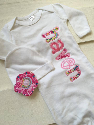 Baby Layette Gown Applique Set