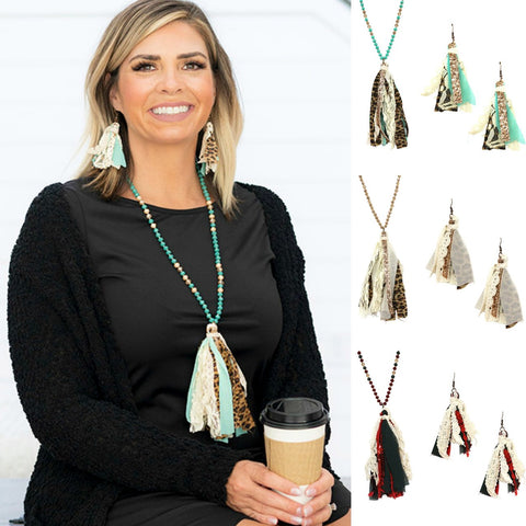 Long Tassel Animal Print Necklace and Earrings