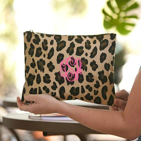 Personalized Leopard Zip Pouch Free Monogramming