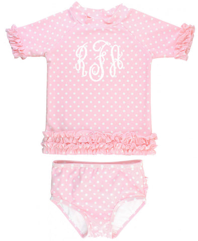 RB Light Pink Polka Dots Rash Guard SS