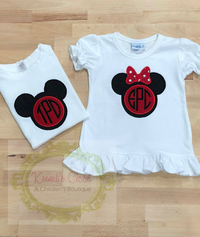 Mickey or Minnie Monogram Head