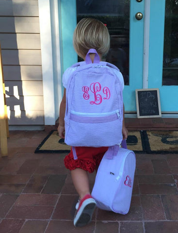 Seersucker Backpack- Preschool AND Full size