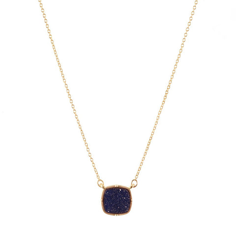 Navy Druzy Necklace