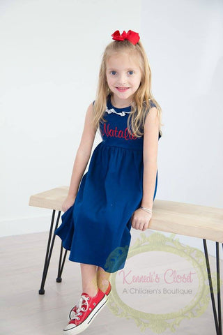 Girls Navy Sleeveless Knit Dress with Lace Trim