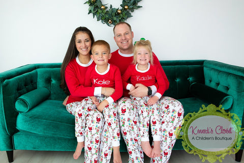 Christmas Jammies Pajamas Elf Print KIDS and ADULTS