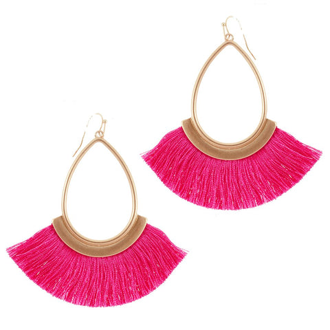 Pink Fringe Earrings