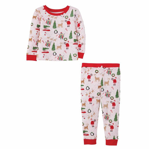 Christmas Pajamas Santa Reindeer- Pink Girls