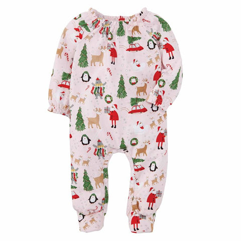 Christmas Pajamas Santa Reindeer- Pink Girls Sleeper