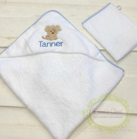 Puppy Hooded Towel and Wash Cloth Set