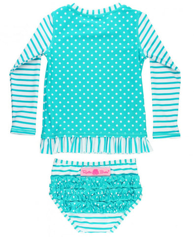 RB Aqua Stripe Polka Dot Long Sleeve Rash Guard
