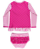 RB Berry Stripe Polka Dot Long Sleeve Rash Guard