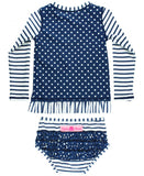 RB Navy Stripe Polka Dot Long Sleeve Rash Guard