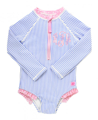 RB Periwinkle Seersucker Long Sleeve Rash Guard One Piece
