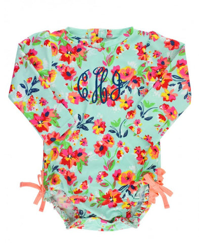 RB Painted Flowers One Piece Rash Guard
