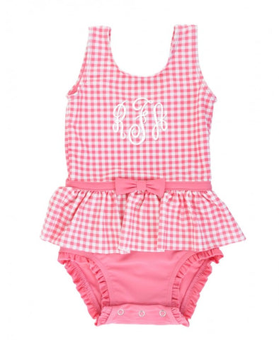 RB Rose Gingham Skirted One Piece