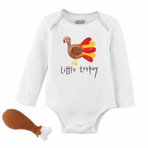 Turkey Knit Rattle and Onesie Gift Set