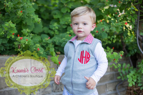 Boys Grey with Red Gingham Vest