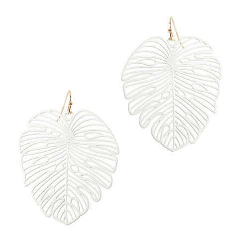 White Palm Earrings