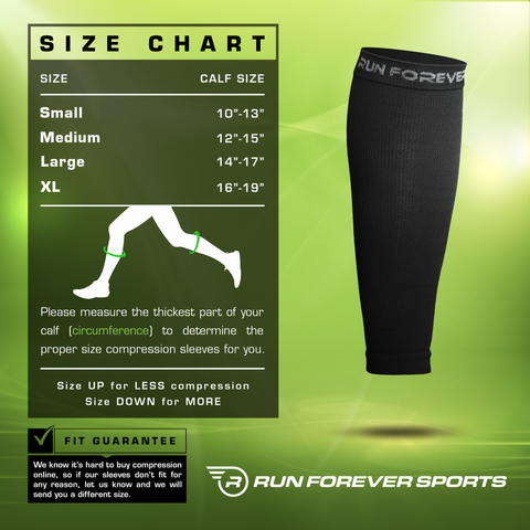 Calf Compression Sleeve Size Chart