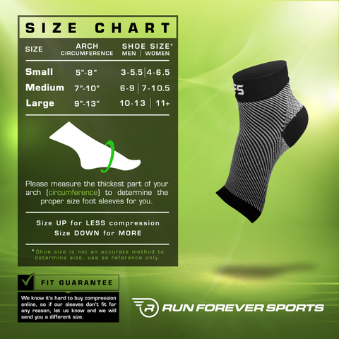Plantar Fasciitis Foot Compression Sleeve Size Chart