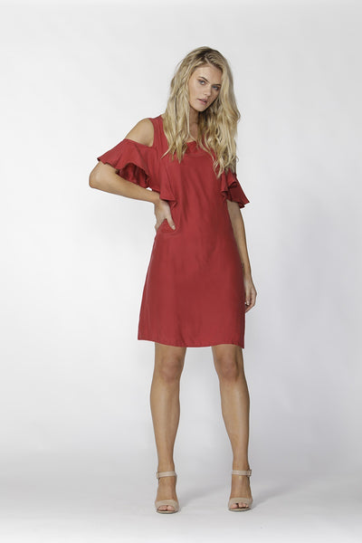 Fate + Becker - Cold Shoulder Dress Red