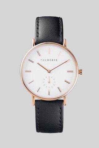 The Classic Rose Gold White face Black