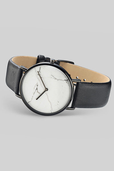 The Classic - White Stone / Black Leather