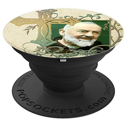 Padre Pio Catholic Saints Prayer Cross - PopSockets Grip and Stand for Phones and Tablets