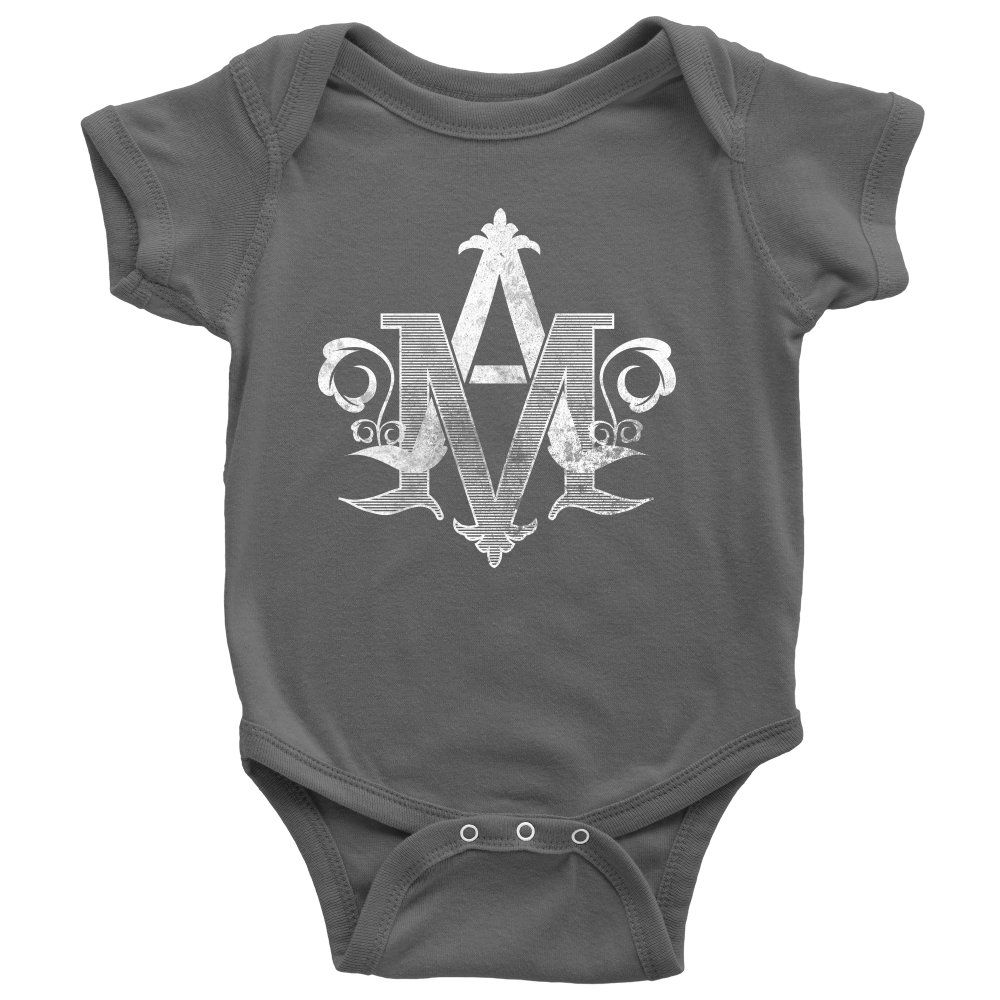 "Auspice Maria ""Under the Protection of Mary"" Baby Onesie"