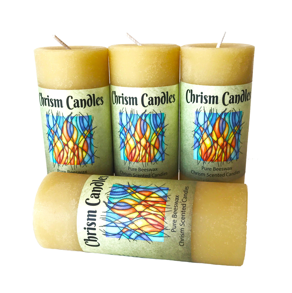 CheruBalm Chrism Scented Aromatherapy Candles - Beeswax Pillar Fall Candle for Stress Relief (4, Pillar)