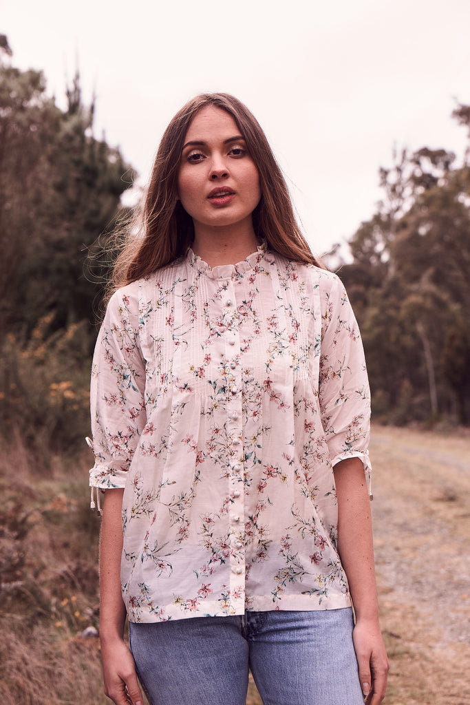 Country Floral Pintuck Blouse