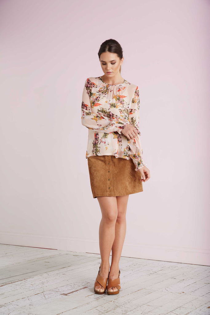 Spring Bloom Print Silk Blouse