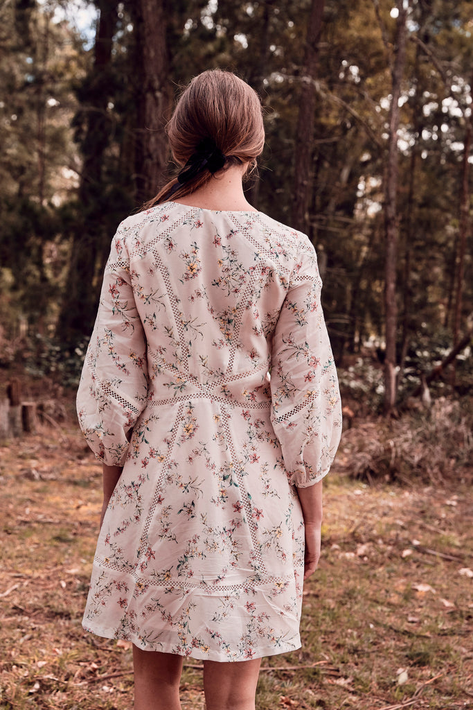 Country Floral Spliced Dress