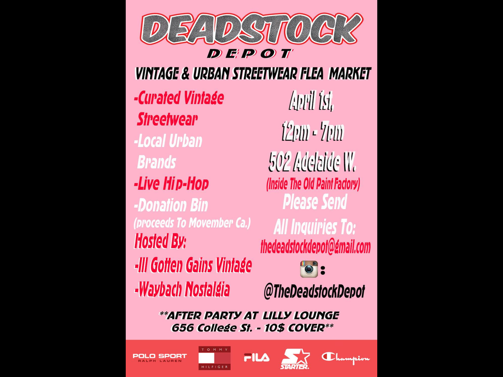 APRIL 1st WE WILL BE AT DEADSTOCK DEPOT TORONTO!!!