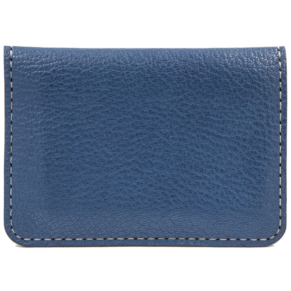Blue French goat leather card case