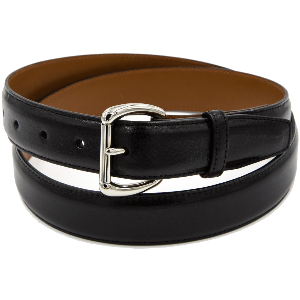 Black Italian calf belt
