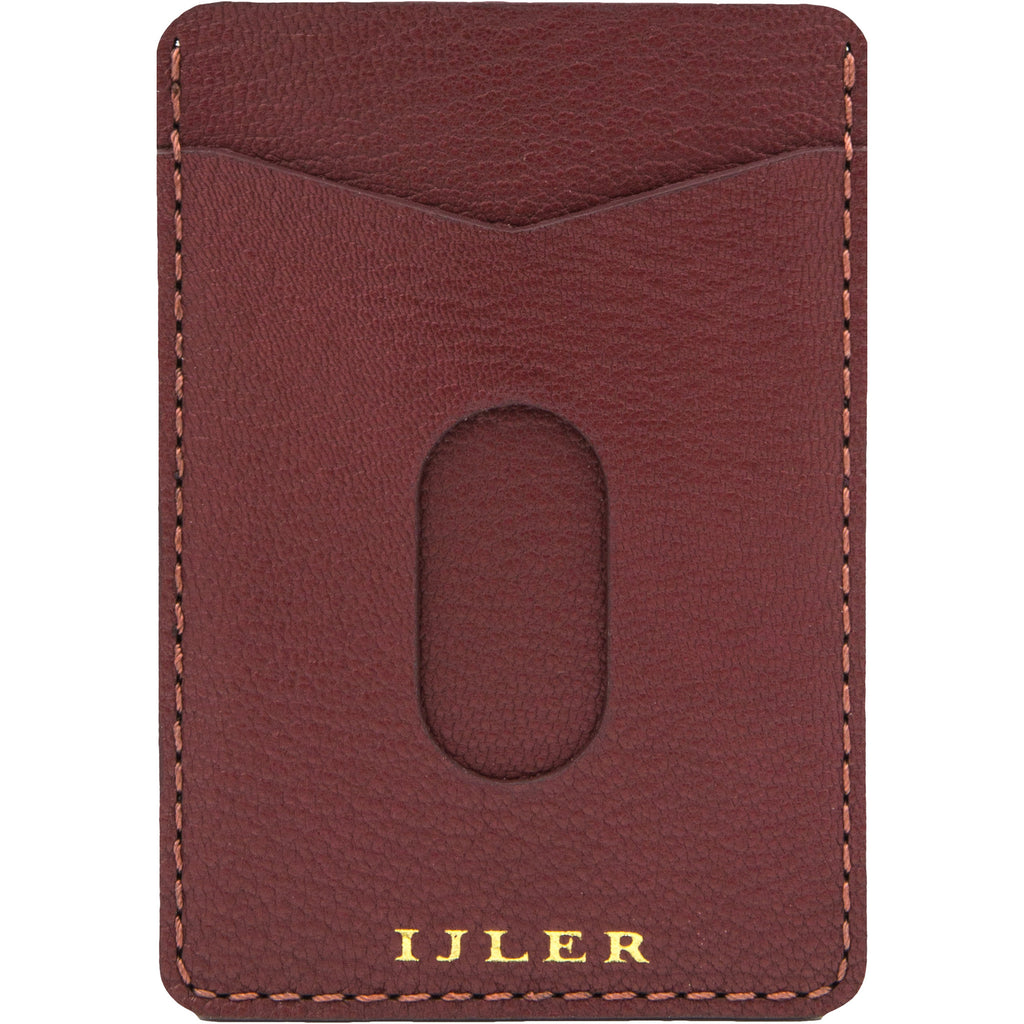 Burgundy French goat leather card case wallet