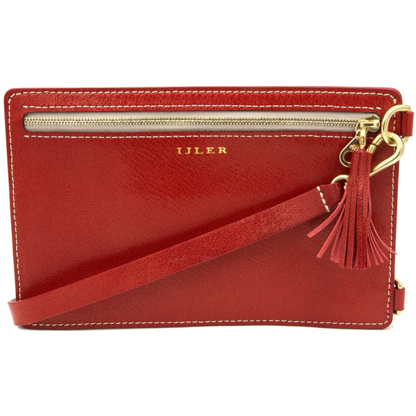 Red French goat leather cross body bag wristlet