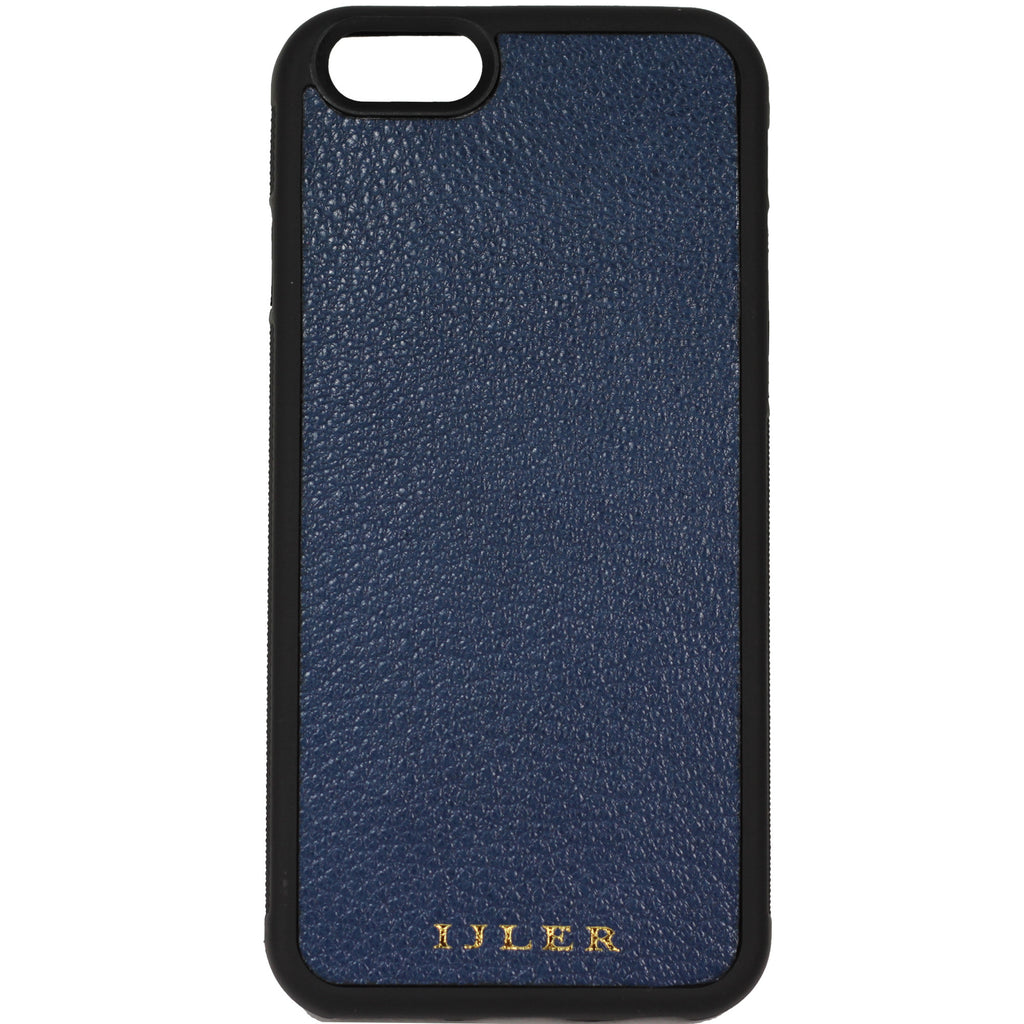 Blue French goat leather iphone case