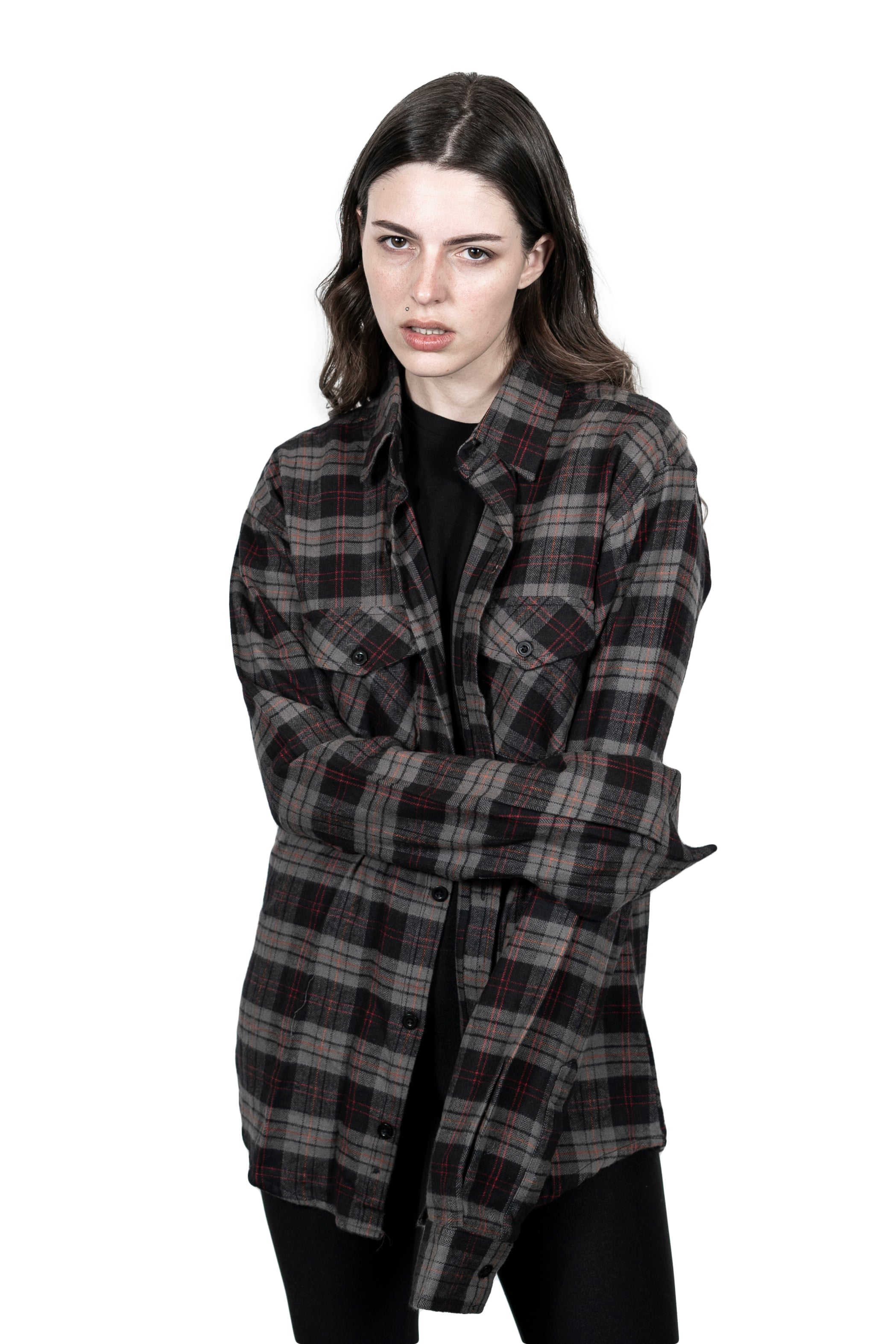 ''The High Priestess'' Stone Grey Button Down Flannel