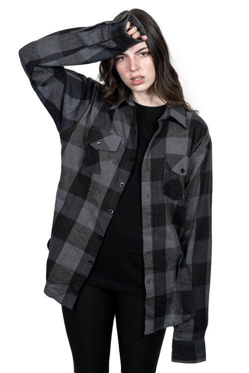 """The Moon'' Slate Button Down Flannel"