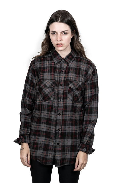 """The Empress"" Stone Grey Button Down Flannel"