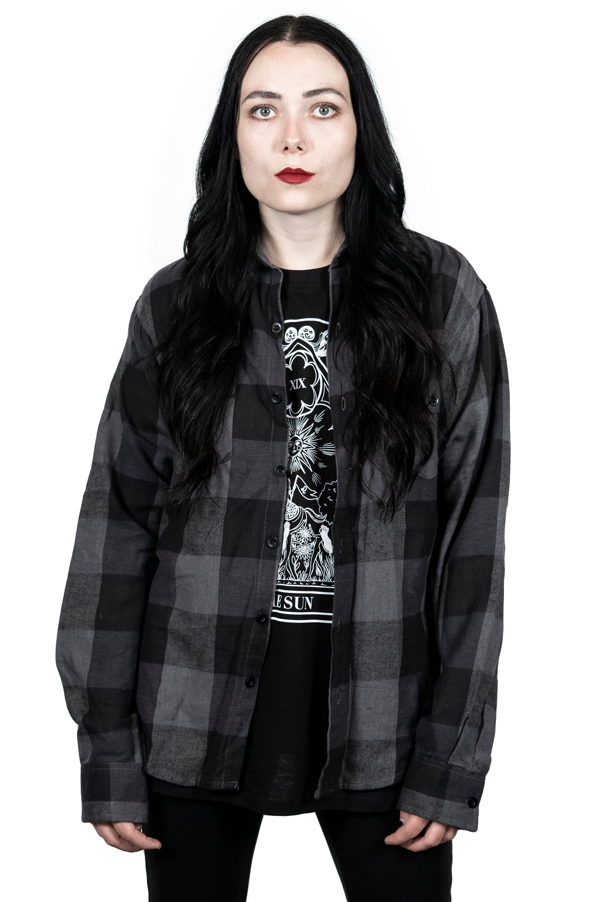 """The Empress"" Slate Button Down Flannel"