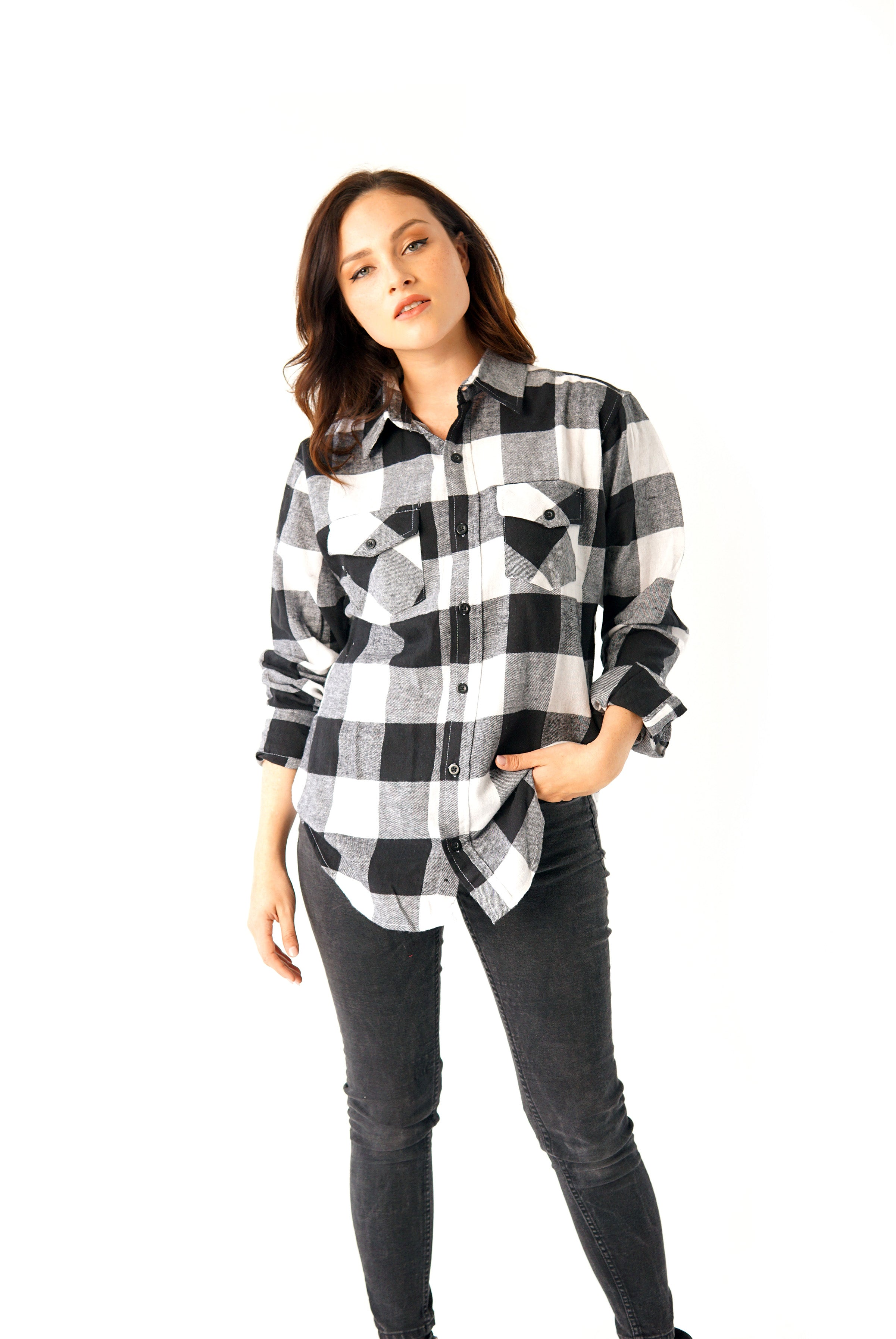 ''The Pretty Cult'' Long-Sleeve Button Down Flannel