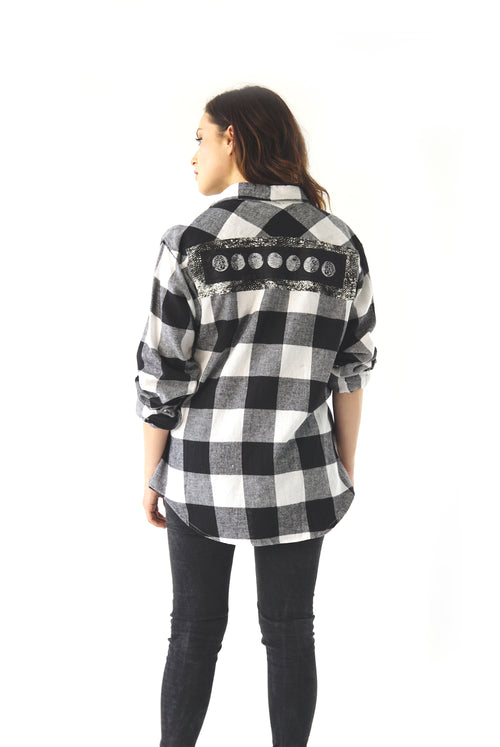 ''Moon Phase'' Long-Sleeve Button Down Flannel