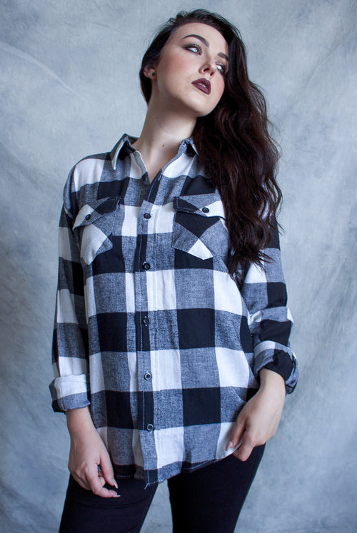 """The Moon'' Long-Sleeve Button Down Flannel"