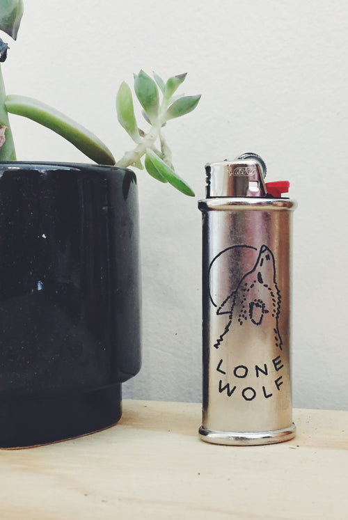 Lone Wolf Engraved Lighter Sleeve