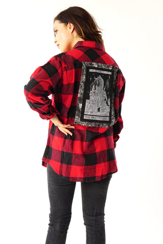 ''Kill You'' Classic Long-Sleeve Button Down Flannel Shirt