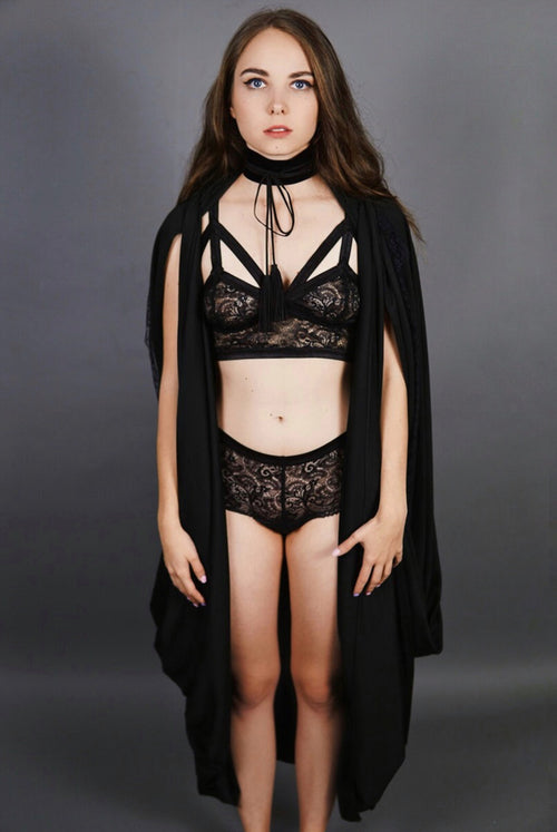 Open-Front Black Cape